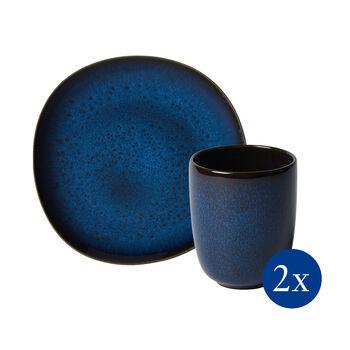 Lave ontbijtset, 4-delig, voor 2 personen, blauw