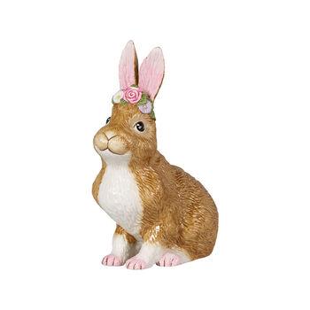Easter Bunnies lapin de Pâques grand modèle assis avec couronne de fleurs, marron/rose
