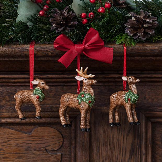 Nostalgic Ornaments ornamenten-set hertenfamilie, 7 x 6 cm, 3-delig, , large