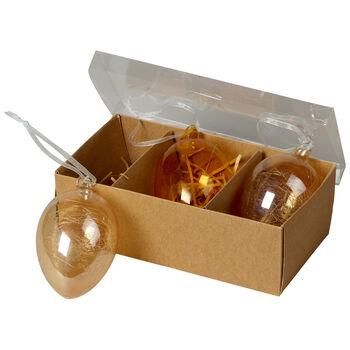 Spring Fantasy Accessories Œufs en verre, set de 3 9x6cm