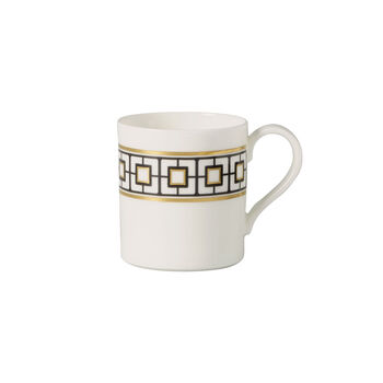 MetroChic koffiekopje, 210 ml, wit-zwart-goud