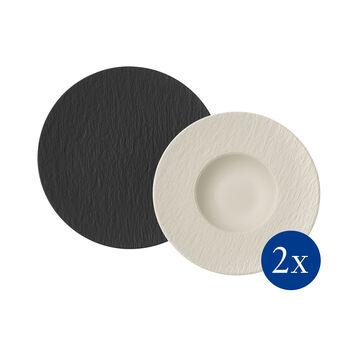 Manufacture Rock pasta-set, 4-delig, voor 2 personen, zwart/wit