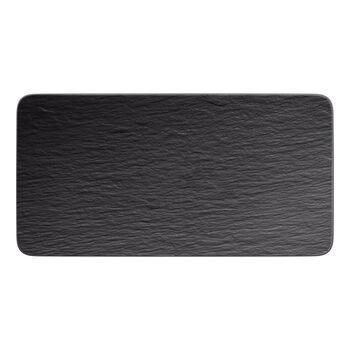 Manufacture Rock plat à servir rectangulaire, noir/gris, 35x18x1cm