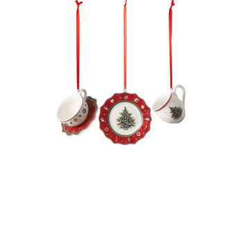 Toy's Delight Decoration ornamenten-set serviesgoed, rood, 4 x 7 cm, 3-delig