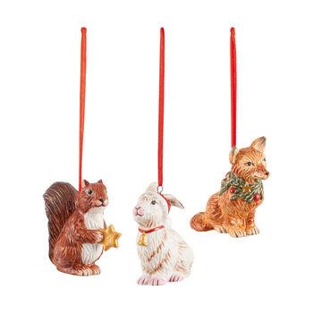 Nostalgic Ornaments ornamenten-set bosdieren, 6 x 7 cm, 3-delig