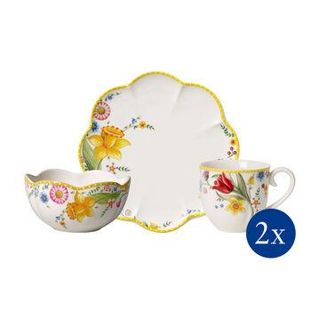 Spring Awakening ontbijt-set, bloemen, 6-delig, voor 2 personen