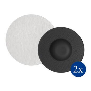 Manufacture Rock pasta-set, 4-delig, voor 2 personen, wit/zwart