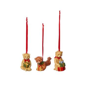 Nostalgic Ornaments ornamenten-set teddy, gekleurd, 3-delig, 9,5 cm