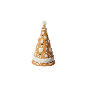 Winter Bakery Decoration kleine lebkuchenboom, bruin/wit, 8 x 8 x 15 cm