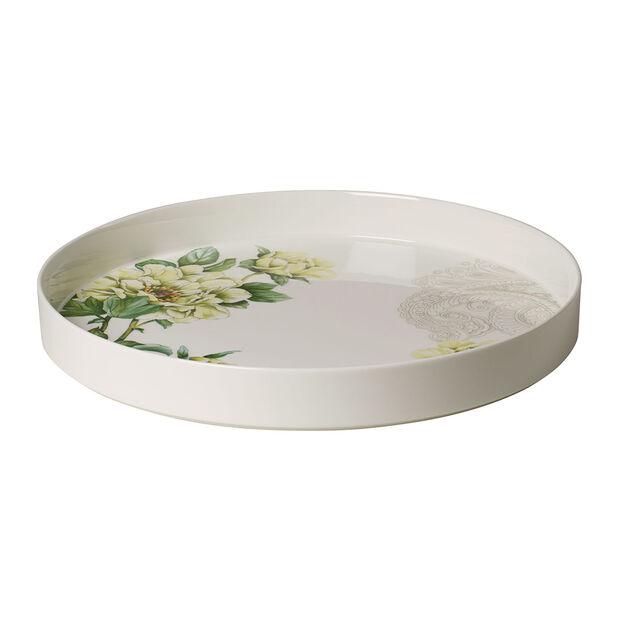 Quinsai Garden serveer- en decoratieschaal, diameter 33 cm, diepte 4 cm, wit/gekleurd, , large