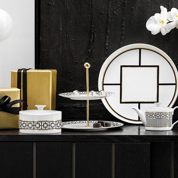MetroChic présentoir, 27,5x27,5x27cm, blanc-noir-or, , large