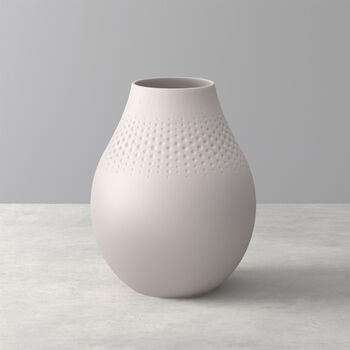 Manufacture Collier vase, 16x20cm, Perle, beige