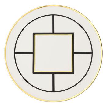 MetroChic gourmetbord en taartschotel, diameter 33 cm, wit-zwart-goud