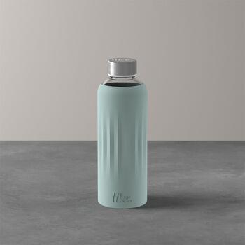 ToGo&ToStay glazen fles, 0,5l, met siliconemantel, muntgroen