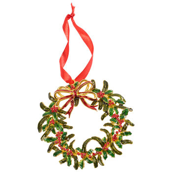 Winter Collage Accessoires metalen hanger kerstkrans, gekleurd, 12 cm