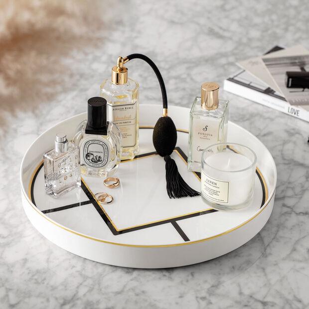 MetroChic serveer- en decoratieschaal, diameter 33 cm, diepte 4 cm, wit-zwart-goud, , large