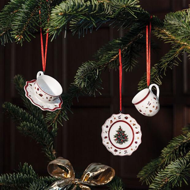 Toy's Delight Decoration ornament servies-set, wit/rood, 3-delig, 6,3 cm, , large