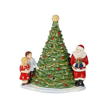 Christmas Toy's Père Noël près du sapin, vert/multicolore, 20x17x23cm