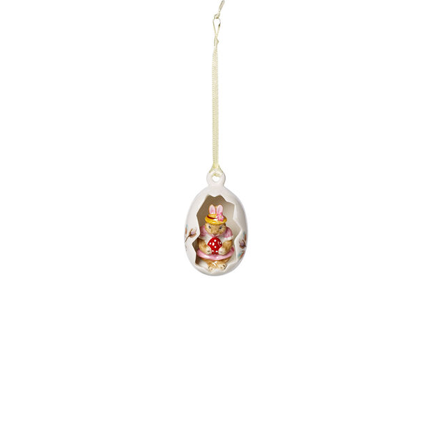 Bunny Tales ornament-ei Anna, roze bloemen, 7 cm, , large