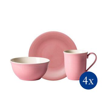 Color Loop Rose ontbijt-set, roos, 12-delig