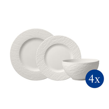 Manufacture Rock blanc Bordenset, 12-dlg, 4 personen