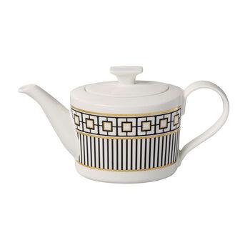 MetroChic koffie- en theepot, 1,2 l, wit-zwart-goud