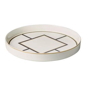 MetroChic serveer- en decoratieschaal, diameter 33 cm, diepte 4 cm, wit-zwart-goud