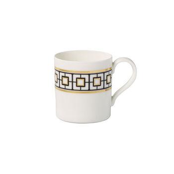 MetroChic koffiemok, 11 x 8 x 9 cm, wit-zwart-goud