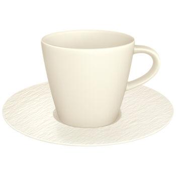 Manufacture Rock Blanc koffiekopje en schotel, wit, 2-delig