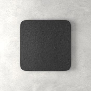 Manufacture Rock vierkante serveerschaal/gourmetbord, zwart/grijs, 32,5 x 32,5 x 1,5 cm