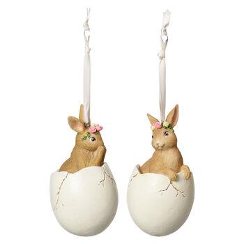 Spring Fantasy Accessories Lapins dans un œuf, set de 2 5,9x5,9x10,8cm