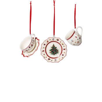 Toy's Delight Decoration ornements ensemble de vaisselle, blanc/rouge, 3pièces, 6,3cm