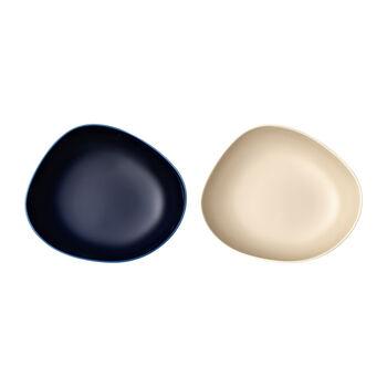 like. by Villeroy & Boch Organic diep bord, 2 stuks, blauw/beige