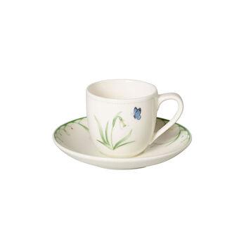 Colourful Spring espressokopje met schotel, wit/groen