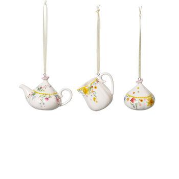 Spring Awakening koffieset-ornamenten, 3-delig, geel/gekleurd