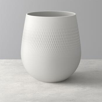 Manufacture Collier blanc Vase Carré grand 20,5x20,5x22,5cm