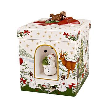 Christmas Toy's grand paquet-cadeau carré, sapin de Noël, 16x16x21,5cm
