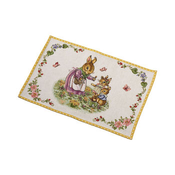 Spring Fantasy Gobelin placemat hazenfamilie, 32 x 48 cm, gekleurd