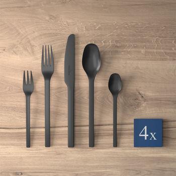 Manufacture Rock tafelbestek, voor 4 personen, 16-delig, zwart