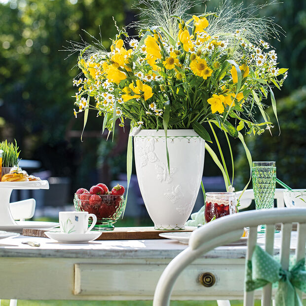 Colourful Spring hoge vaas, wit/groen, , large