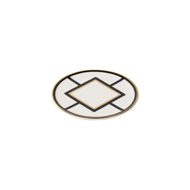 MetroChic onderzetter, diameter 11 cm, wit-zwart-goud, , large