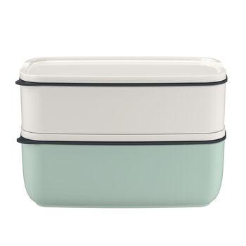 ToGo&ToStay ensemble de boîtes à repas, 2pièces, carrées, blanc/vert menthe