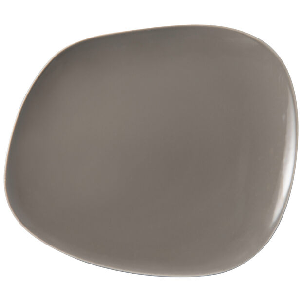 Organic Taupe assiette plate, taupe, 28x24x3cm, , large