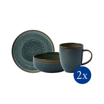 Crafted Breeze ontbijtset, grijsblauw, 6 stuks