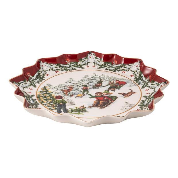 Toy's Fantasy diep gebaksbordje slederit, gekleurd/rood/wit, 39 x 39 x 3,5 cm, , large